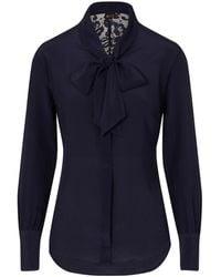 Sophie Cameron Davies Midnight Blue Silk Bow Blouse