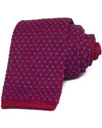 40 Colori - Magenta & Blue Small Dotted Linen Knitted Tie - Lyst