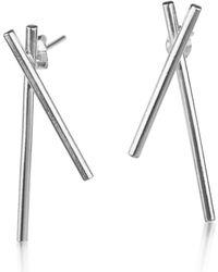 Marcia Vidal Silver Hex Earrings - Metallic