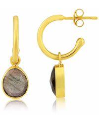 Auree Manhattan Gold & Labradorite Interchangeable Gemstone Earrings - Metallic
