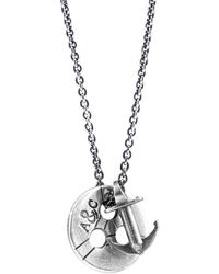 Anchor & Crew Lerwick Pulley Silver Necklace Pendant - Metallic