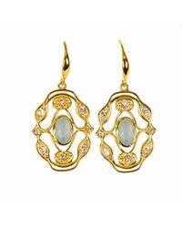 Neola - Norresa Gold Earrings With Aqua Chalcedony - Lyst
