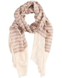 Asneh Cream Coloured Cashmere Scarf With Red, Black & Beige Stripes - Natural