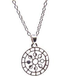 Puck Wanderlust Mini Moon Mandala Pendant Necklace Silver - Metallic