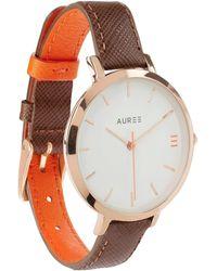 Auree - Montmartre Rose Gold Watch With Chestnut Brown & Orange Strap - Lyst