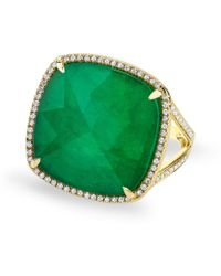 Anne Sisteron Yellow Gold Emerald Diamond Triplet Cushion Cut Luxe Cocktail Ring