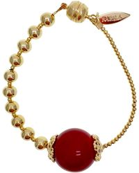 Farra Red Bamboo Gold Plated Brass Bracelet