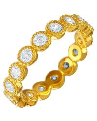 Cosanuova Sterling Silver Round Design Eternity Band In Gold - Metallic