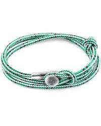 Anchor & Crew - Green Dash Dundee Silver & Rope Bracelet - Lyst
