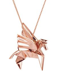 Origami Jewellery - Pegazus Necklace Pink Gold Plated - Lyst
