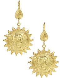 Ottoman Hands Minerva Coin Drop Earrings - Metallic