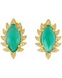 Meghna Jewels - Claw Studs Green Onyx & Diamonds - Lyst