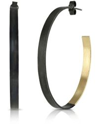 Ellie Air - Flat Hoops Black & Yellow Gold - Lyst