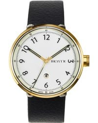 Bravur - Gold With White Numeral Dial Black Strap - Lyst