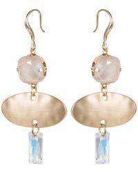 Nadia Minkoff Oval Textured Earring Brushed Gold - Metallic