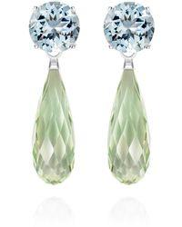 Augustine Jewels Green Amethyst & Aquamarine Drop Earrings
