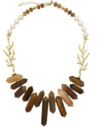 Farra Tiger Eye Stones, Freshwater Pearls & Bamboo Charms Statement Necklace - Brown