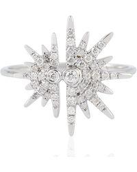 Artisan 18kt Solid White Gold Genuine Diamond Starburst Shape Ring Women Jewellery - Metallic