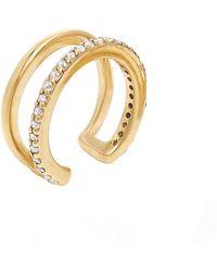 Neola Gold White Topaz Gemstone Ear Cuff - Metallic