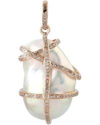 Artisan 14kt Solid Rose Gold Natural Pearl Genuine Diamond Pendant Jewellery - Metallic