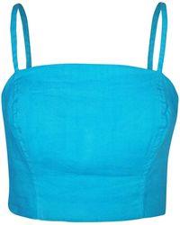 Haris Cotton Linen Blend Stretch Bust - Blue