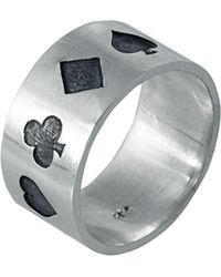 Edge Only - Poker Ring Oxidised Silver - Lyst