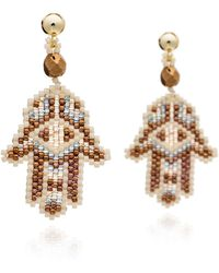 Azuni London | Hamsa Beadwork Earrings In Desert | Lyst