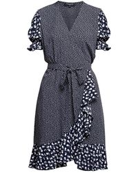 Rumour London Myla Ruffled Wrap Dress With Short Sleeves In Floral Print - Multicolour