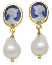 Vintouch Italy - Sky Blue Mini Cameo & Pearl Drop Earrings - Lyst