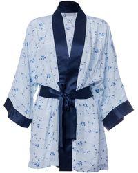 Roses Are Red Sonata For The Dawn Silk Kimono Blue