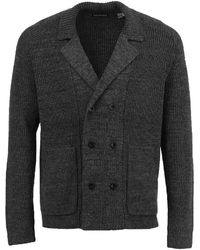 lords of harlech Christopher Cardigan In Xtrafine Charcoal - Grey
