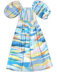 Jessie Zhao New York Landscape Smocked Cotton Silk Dress - Blue