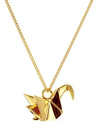 Origami Jewellery Sterling Silver & Gold Mini Swan Origami Necklace - Metallic