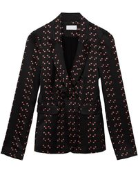PHOEBE GRACE Andy Jacket With Double Button Fastening In Ditsy Print - Black