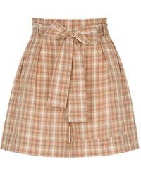 Nocturne Belted Plaid Shorts-multicolour - Multicolor