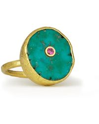 Ottoman Hands Amalfi Turquoise Cocktail Ring - Multicolour