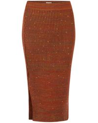 STUDIO MYR Autumn Dew Calf Length Knitted Pencil Skirt With Sparkles - Brown