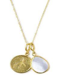 Ottoman Hands Sagittarius Zodiac Necklace With Crystal Quartz Charm - Metallic