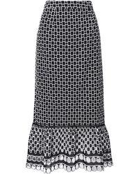True Decadence Black White Broderie Pencil Skirt