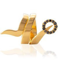 Cristina Cipolli Jewellery Snaketric Ring Gold & Black - Metallic