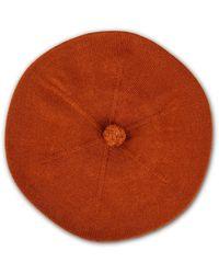 Asneh Fallon Brown Pom-pom Knitted Silk Cashmere Beret