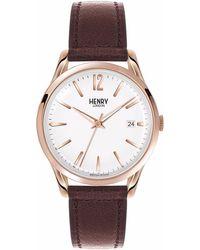 Henry London - Unisex 39mm Richmond Leather Watch - Lyst