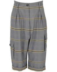DANEH Multi Pocket Cropped Plaid Trousers - Multicolour