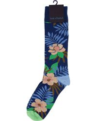 lords of harlech Donald - Farm Floral Navy - Blue