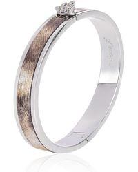 Alexa K Silver Leather Wolf Bangle - Metallic