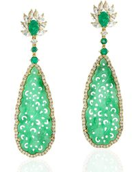 Artisan 18kt Yellow Gold Natural Emerald Carving Jade White Sapphire Dangle Earring Handmade Jewellery - Green