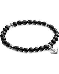 Anchor & Crew Silver & Black Onyx Stone Starboard Bracelet - Metallic