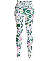 Jessie Zhao New York High Waist Yoga Leggings In Flowers - Multicolour