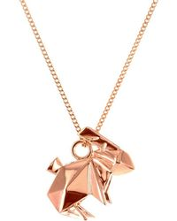 Origami Jewellery - Sterling Silver & Pink Gold Mini Rabbit Origami Necklace - Lyst