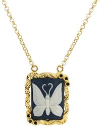 Vintouch Italy Butterfly Cameo Necklace - Multicolour